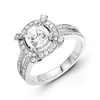 Item # E31946PP - Platinum Vintage Halo Diamond Engagement Ring