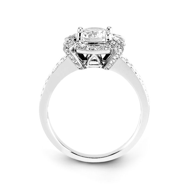 Item # E31946PP View 2 - Platinum Vintage Halo Diamond Engagement Ring