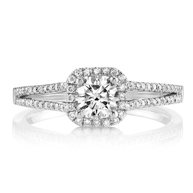 Item # E32144WE View 2 - Diamond Halo Engagement Ring