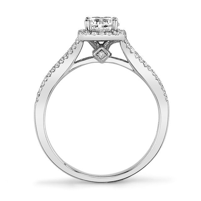 Item # E32144WE View 3 - Diamond Halo Engagement Ring