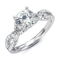 Item # E32354PP - Twisted Diamond Engagement Ring