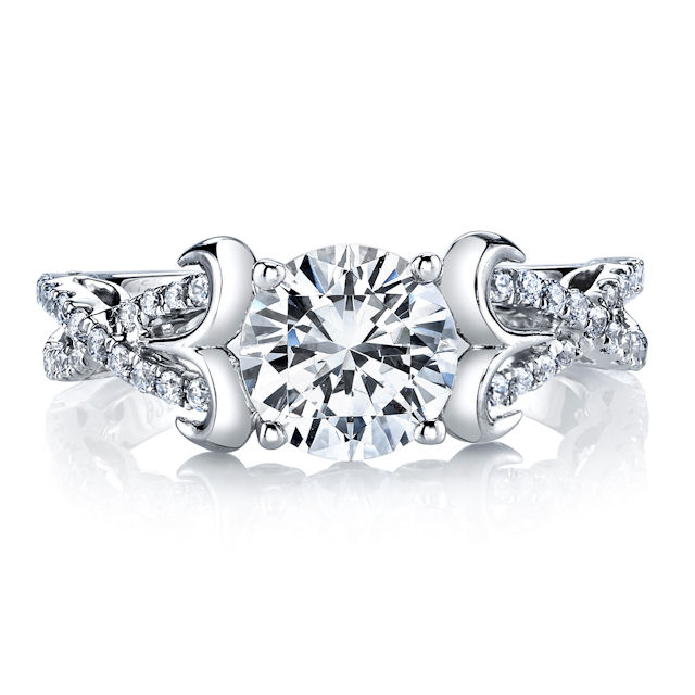 Item # E32526WE View 3 - Sculptural Diamond Engagement Ring