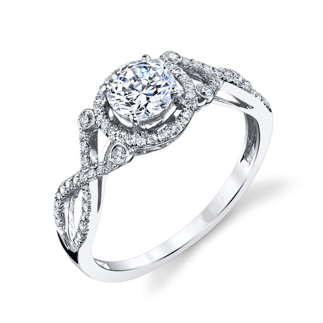 Item # E32529W - 14kt white gold, twisted, diamond halo engagement ring. There are 70 round brilliant cut diamonds set around the center stone & down the side of the ring. The diamonds are about 0.22 ct tw, VS1-2 in clarity and G-H in color. Center stone is sold separately and ring can be made for any size. The stone pictured here is a 1.0 carat size.