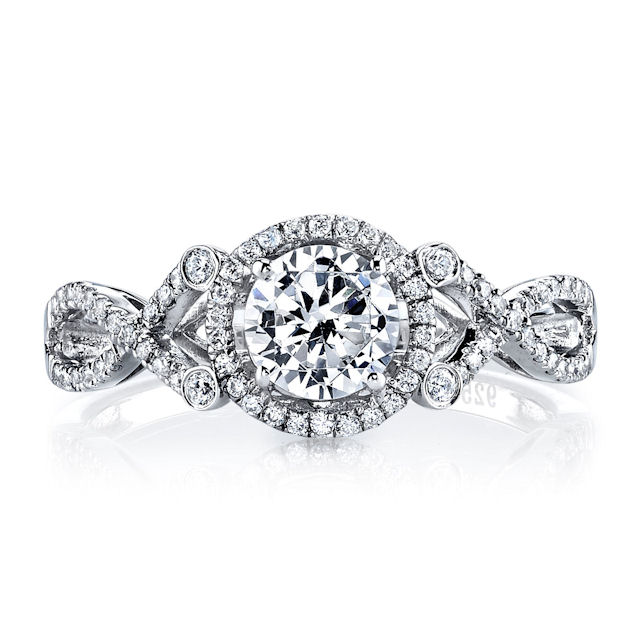 Item # E32529WE View 2 - Twisted Diamond Halo Engagement Ring