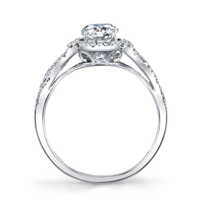 Item # E32529W View 3 - Twisted Diamond Halo Engagement Ring