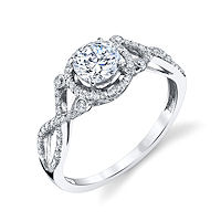 Item # E32529W - Twisted Diamond Halo Engagement Ring