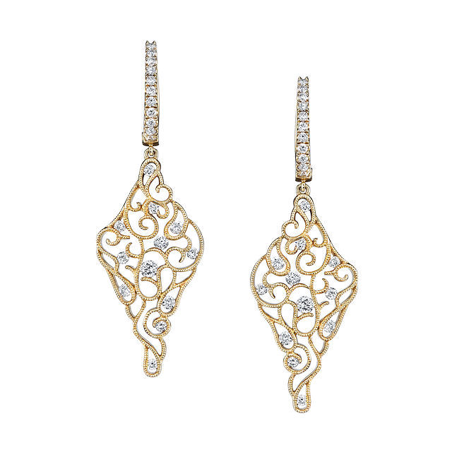 Item # E32558E - 18kt yellow gold, vintage, diamond dangle earrings. There are about 46 round brilliant cut diamonds set in the earrings. The diamonds are about 0.89 ct tw, VS1-2 in clarity and G-H in color.
