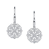 Item # E32589W - White Gold Circular Vintage Diamond Earrings