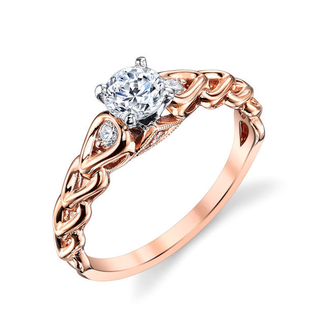 Item # E32592RE - 18kt rose gold, sculptural diamond engagement ring. There are about 4 round brilliant cut diamonds set in the ring. The diamonds are about 0.09 ct tw, VS1-2 in clarity and G-H in color. Center stone sold separately and in different sizes. Pictured is 0.75 carat diamond.