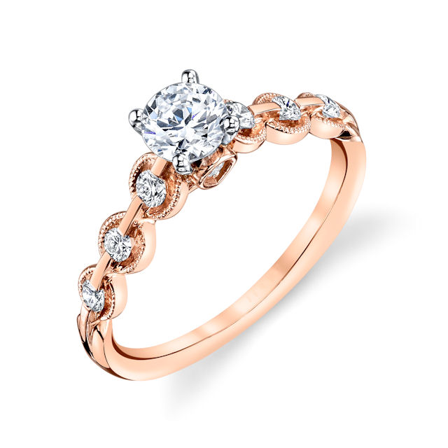 Item # E32596R - 14kt rose gold, diamond engagement ring. There are about 8 round brilliant cut diamonds set in the ring. The diamonds are about 0.25 ct tw, VS1-2 in clarity and G-H in color. Center stone is sold separately and in different sizes. Pictured is a about 0.75 carat diamond.