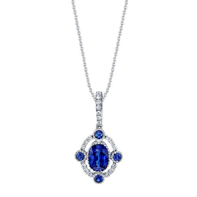 Item # E32695PP - Platinum, sapphire & diamond necklace. The sapphires are about 0.43 carats total weight and the diamonds are about 0.18 ct tw, VS1-2 in clarity and G-H in color. The pendant hangs on an 18