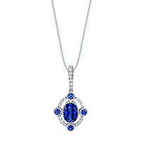 Item # E32695WE - 18Kt White Gold Sapphire & Diamond Necklace