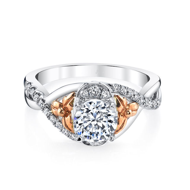 Item # E32740E View 3 - Rose & White Gold Diamond Engagement Ring