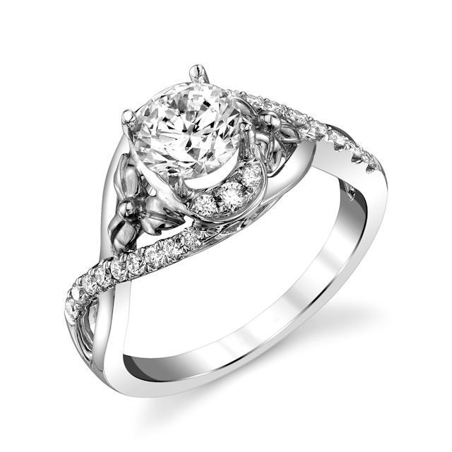 Item # E32740PP - Platinum, diamond engagement ring. There are about 24 round brilliant cut diamonds set in the ring. The diamonds are about 0.29 ct tw, VS1-2 in clarity and G-H in color. Center stone is sold separately and in different sizes. Pictured is a 1.0 carat diamond.
