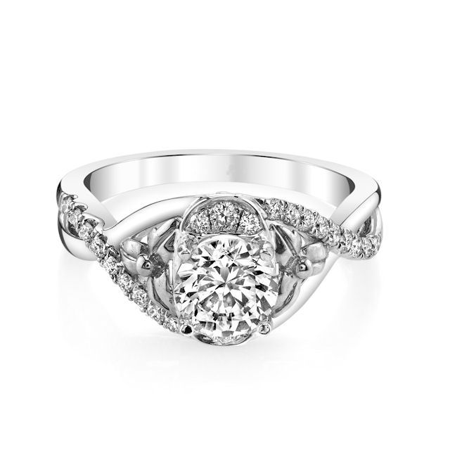 Item # E32740PP View 3 - Platinum Diamond Engagement Ring
