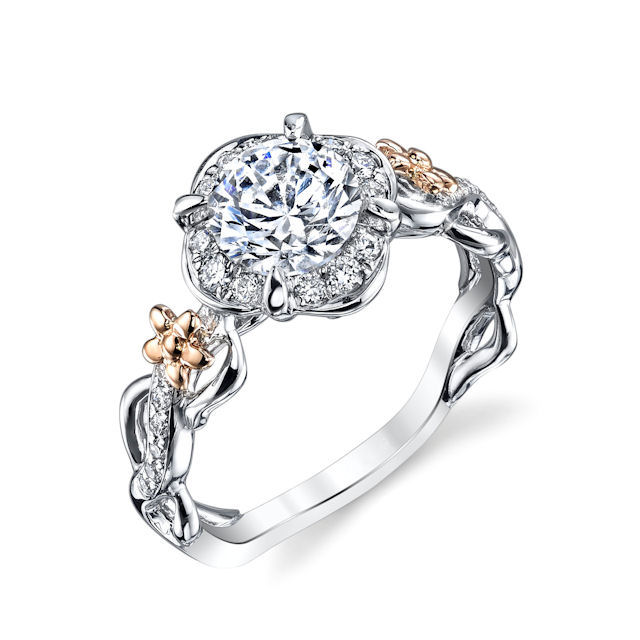 Item # E32741E - 18kt white & rose gold, floral design, diamond halo engagement ring. There are 34 round brilliant cut diamonds set in around the center stone and the sides of the ring. The diamonds are about 0.26 carats total weight, VS1-2 in clarity and G-H in color. Center stone is sold separately and in other sizes. Pictured here is about a 1.0 carat diamond.