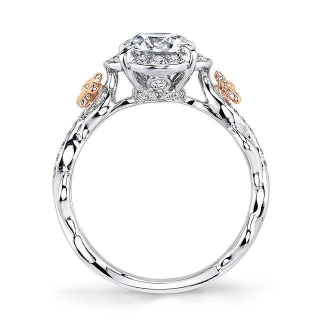 Item # E32741E View 3 - Floral Diamond Halo Engagement Ring