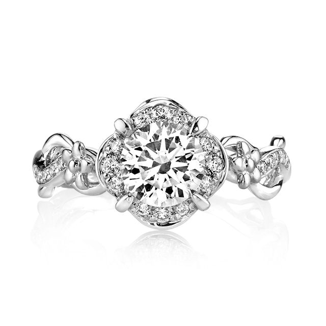 Item # E32741W View 2 - Floral Diamond Halo Engagement Ring