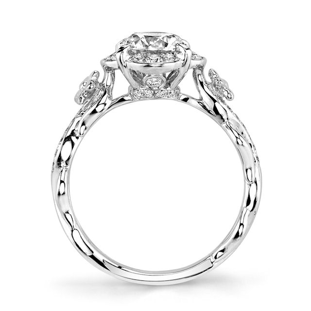 Item # E32741W View 3 - Floral Diamond Halo Engagement Ring