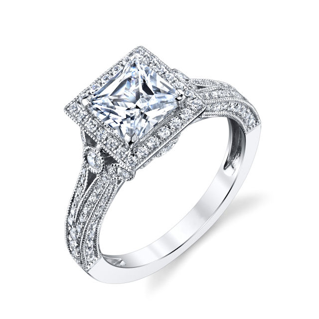 Item # E32754W - 14kt white gold, princess cut, diamond halo, vintage engagement ring. There are about 86 round brilliant cut diamonds set around the center stone and in the ring. The diamonds are about 0.61 ct tw, VS1-2 in clarity and G-H in color. Center stone is sold separately and in different sizes. Pictured is a 1.0 carat princess cut diamond.