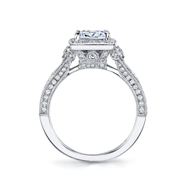 Item # E32754W View 2 - Princess Cut Vintage Engagement Ring