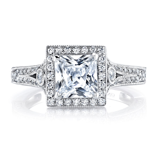 Item # E32754W View 3 - Princess Cut Vintage Engagement Ring