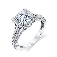 Item # E32754WE - Princess Cut Halo Vintage Engagement Ring