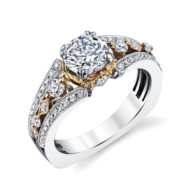 Item # E32837 - 14kt two-tone, milgrain, diamond engagement ring. There are about 54 round brilliant cut diamonds set in the ring. The diamonds are about 0.46 ct tw, VS1-2 in clarity and G-H in color. Center stone is sold separately and in different sizes. Pictured is a 1.0 carat diamond.