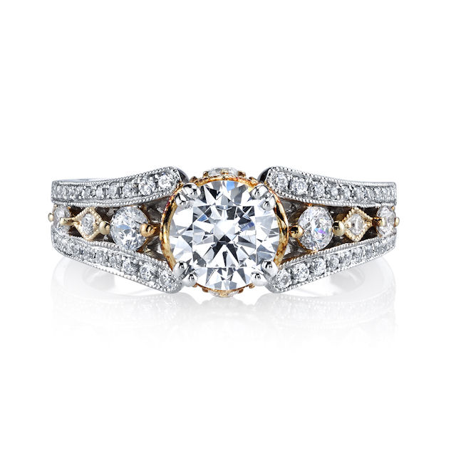 Item # E32837 View 2 - Two-Tone Diamond Engagement Ring