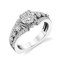 Item # E32837WE - White Gold MilgrainEngagement Ring