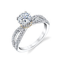 Item # E32886E - Two-Tone Diamond Engagement Ring