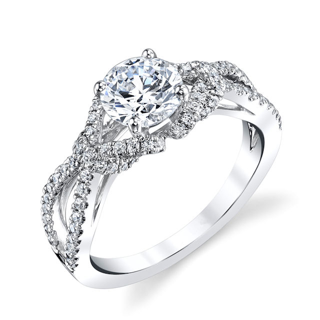 Item # E32961W - 14kt white gold, infinity, diamond engagement ring. There are about 84 round brilliant cut diamonds set in the ring. The diamonds are about 0.39 ct tw, VS1-2 in clarity and G-H in color. Center stone is sold separately and in different sizes. Pictured is a 1.0 carat diamond.