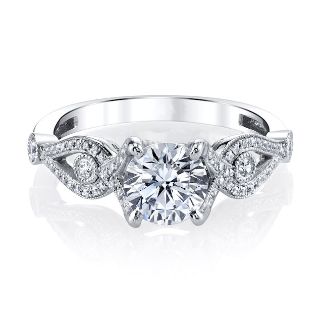 Item # E33038WE View 3 - White Gold Diamond Engagement Ring