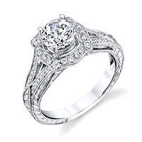 Item # E33044PP - Platinum Vintage Halo Engagement Ring