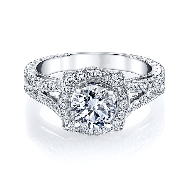 Item # E33044WE View 3 - Vintage Halo Diamond Engagement Ring