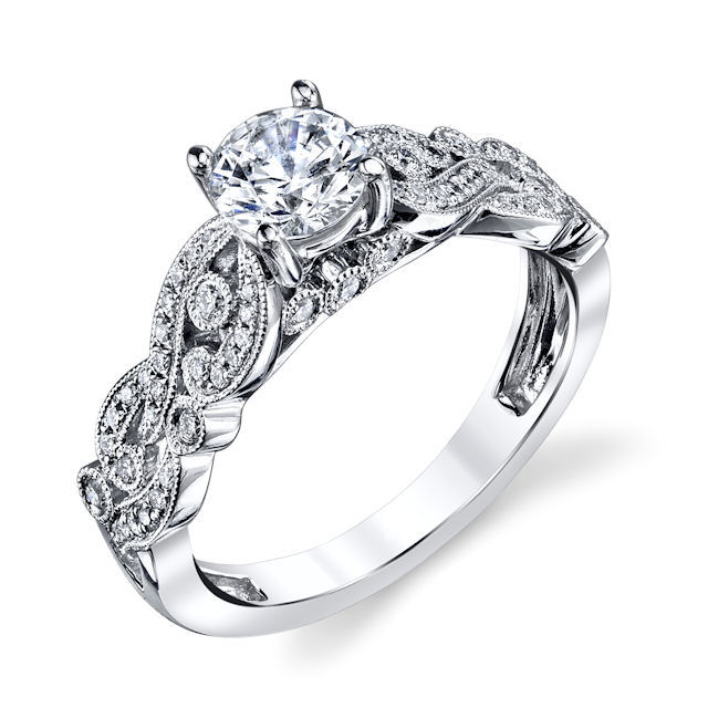 Item # E33229PP - Platinum, modern, diamond engagement ring. There are about 62 round brilliant cut diamonds set in the ring. The diamonds are about 0.25 ct tw, VS1-2 in clarity and G-H in color. Center stone is sold separately and in different sizes. Pictured is a 0.75 carat diamond.