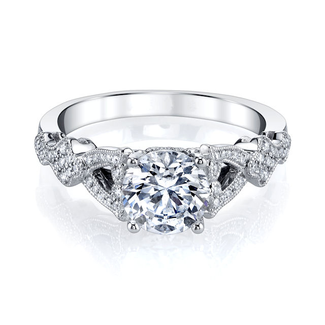 Item # E33231PP View 2 - Platinum Vintage Engagement Ring