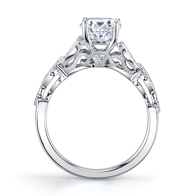 Item # E33231PP View 3 - Platinum Vintage Engagement Ring