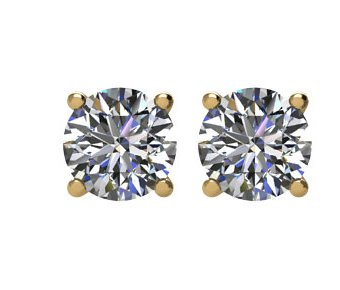 Item # E70251E - 18K gold 0.25ct total weigh friction back diamond stud earrings. Diamonds are graded as SI in Clarity I-J in color.