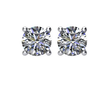 Item # E70251W - 14 K white gold 1/4 ct total weight screw post diamond stud earrings. Diamonds are I1 in clarity I-J in color.