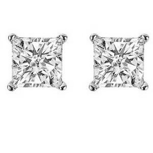 Item # E70252W - 14K white gold 1/4 ct total weight screw post  princess cut diamond stud earrings. Diamonds are graded as SI in clarity I-J in color.