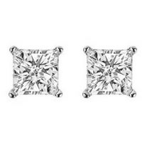 Item # E70252W - Princess cut Diamond Stud Earrings 0.25ct