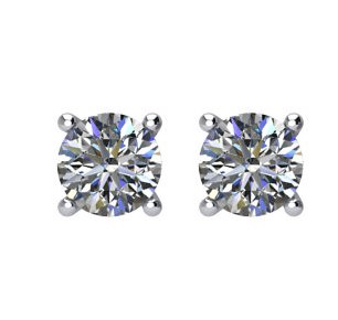 Item # E70331W - 14K white gold, 1/3 ct total weight  screw post, diamond stud earrings. Diamonds are graded as I1 in clarity I-J in color.