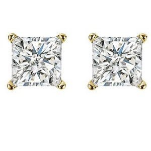 Item # E70332 - 14K gold, 1/3 ct total weight  screw post, princess cut, diamond stud earrings. Diamonds are graded as SI in clarity I-J in color.