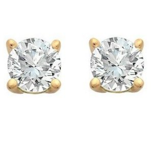 Item # E70401 - 14K gold, 0.40 ct total weight, friction back diamond stud earrings. Diamonds are graded as I1 in clarity I-J in color.