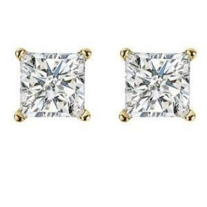 Item # E70402 - 14K gold, 0.40 ct total weight, screw post, princess cut, diamond stud earrings. Diamonds are graded as SI in clarity I-J in color.