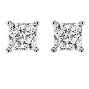 Item # E70402W - 14K white gold, 0.40 ct total weight, screw post, princess cut, diamond stud earrings. Diamonds are graded as SI in clarity I-J in color.