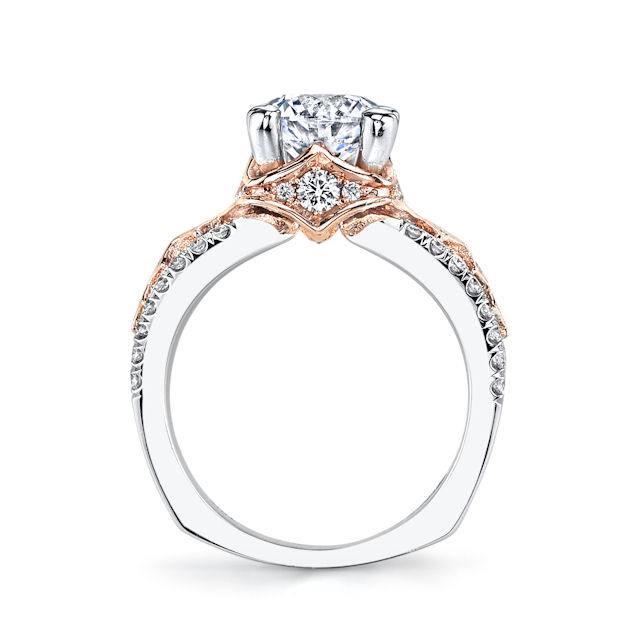 Item # E7043 View 2 - Rose & White Gold Engagement Ring