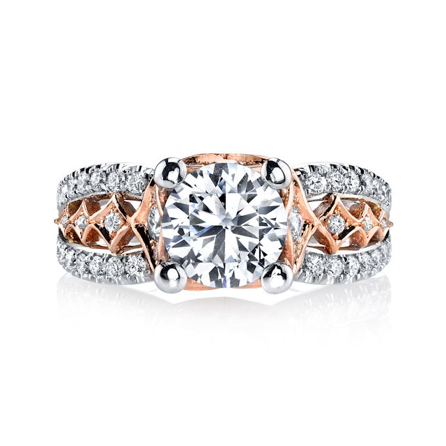 Item # E7043 View 3 - Rose & White Gold Engagement Ring