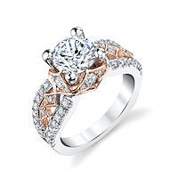 Item # E7043E - Rose & White Gold Diamond Engagement Ring